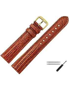 Uhrenarmband 14mm Leder braun Prägung, Eidechse - inkl. Federstege & Werkzeug - Lederband mit Eidechsenprägung...