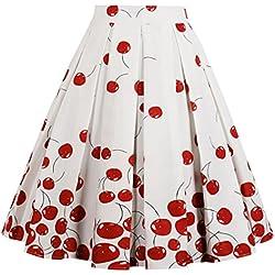 Eudolah - Falda Plisada para Mujer, Estilo Vintage, diseño Floral A-Cherry Medium