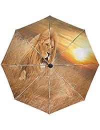 Wamika Paraguas de Viaje Picture Lions con diseño de césped, Resistente al Viento, Resistente