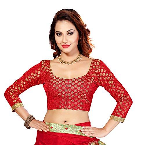 Studio Shringaar Red Brocade Long Sleeved Formal Blouse