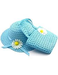 chapeau de paille avec fleurs de sac de style princesse(Blue)