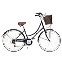 "Ammaco Classique Dutch Style Heritage 26"" Wheel Womens Bike & Basket 16"" Frame Black"