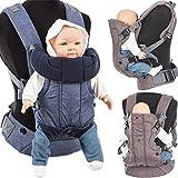 3 in 1 Baby Bauchtrage / Rückentrage (Stark gepolsterter Schultergurt) Füllung: (100% BAUMWOLLE) (ANTHRAZIT)