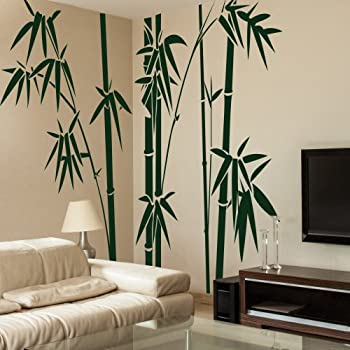 Vinyl Bamboo Wall Decal Bamboo Wall Quote Tree Wall Sticker Wall Grpahic  Home Art Decor 1(bamboos:Dark Green;bamboo Leaves:Dark Green) Part 94