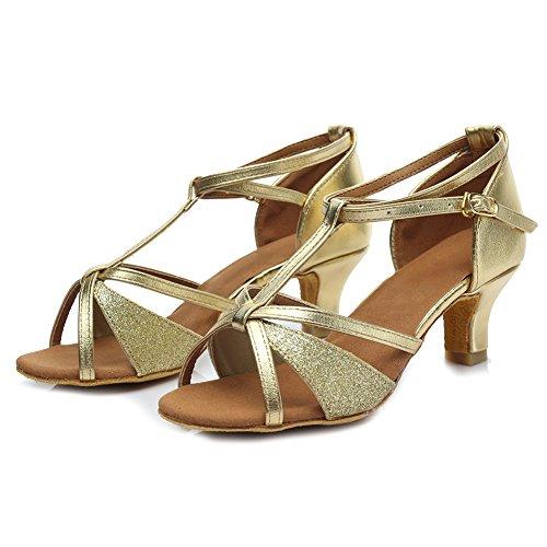 HIPPOSEUS Donna Ballroom Scarpe da ballo /sala da ballo scarpe/Scarpe da ballo latino standard di Raso,Modello-IT255 5CM Oro