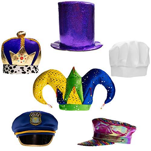 Partyhüte Set mit 6 lustigen Kostümmmützen für Erwachsene, Teenager, Photobooth, Party, Hochzeiten, etc.