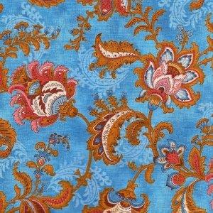 25x112cm Patchworkstoff, Ornamentblumen in altrosa, braun, beige und blau auf blauem Hintergrund. Meterware