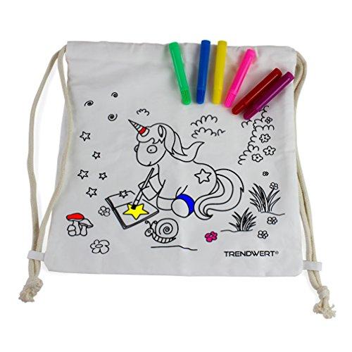 TRENDWERT Einhorn-Turnbeutel-Rucksack Bastelset zum Bemalen aus 100 % Baumwolle inkl. Stiften für Kinder Mädchen Unicorn Baumwollbeutel zum selbstgestalten in weiß (Kordelzug Baumwoll-canvas)
