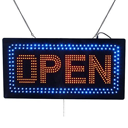 Espresso-led-zeichen (LED Schild OPEN animierte Blinklicht Zeichen für Business Shop Fenster Barber Shop Beauty Hari Salon Nägel Spa Massage Maniküre Pediküre Super Hell und hohe Qualität 48,3x 25,4cm)