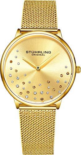 amenuhr Krystal Analog Watch Dial, Edelstahlgewebe Armband 3928 Uhren für Damen Kollektion (Gold) ()