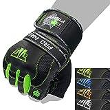 FOX-FIGHT PRO Wrist Green Fitness Kraftsport Leder Trainings Handschuhe Trainingshandschuhe...