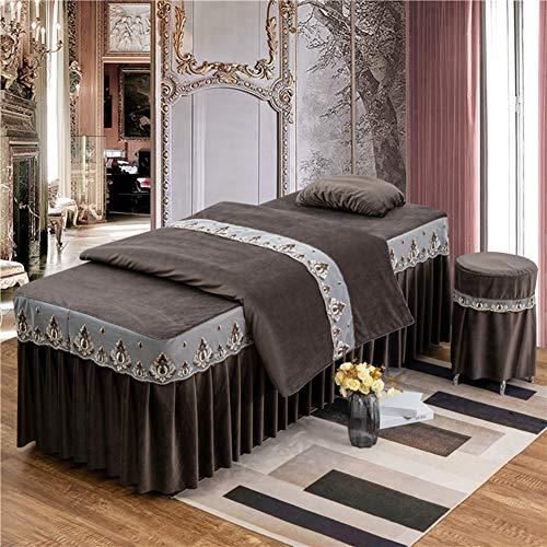 WWDS Beauty-Bett-Abdeckung,4-stück Baumwolle Spa Laken Für Beauty-Salon,Laken Mit Loch Massageliege Auflage Set-d -