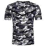 Angebote,Neue Deals,Herren T-Shirt Ronamick Camouflage T-Shirt Rundhals Ausschnitt Mode Slim Fit Casual Kurzarm (Grau, M)
