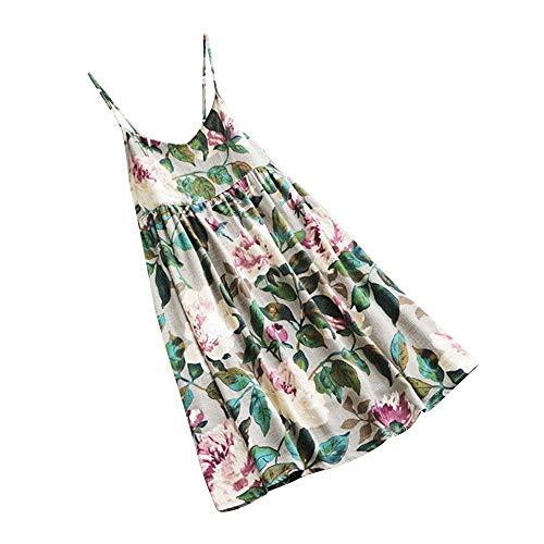 r Minikleid Damen Beiläufige Blumen Drucken Strandkleid Party Kurze Ärmel Kleid Plus Größe Sommerkleid T-Shirts Tanktop(X2-Weiß,EU-36/CN-S) ()