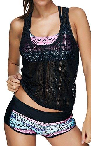 Leslady Damen Separable Badeanzüge Tankini mit 3-Teilig Sporty Neckholder Plus Größe Zwei Stück Badeanzug Mesh Schwimmen Kostüm(Size 3XL, PoP)