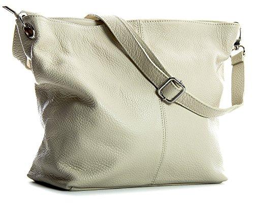 Big Handbag Shop mittelgroße Damen Schultertasche aus echtem italienischem Leder Cream
