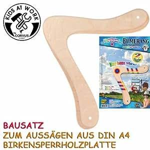 Bumerang 2 Flügler A 600527 Bausatz Din A 4 aus Holz mit Schablone und Wurfanleitung Corvus