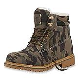 SCARPE VITA Damen Stiefeletten Worker Boots Warm Gefütterte Outdoor Schuhe 165614 Camouflage Warm Gefüttert 40