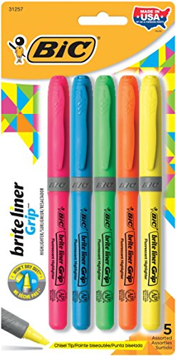 Brite Liner Grip Highlighter, Chisel Tip, Fluorescent Colors, 5/Set
