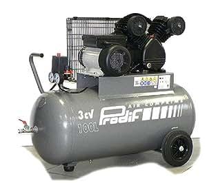 Compresseur courroie bi-cylindre V Triphasé 100 l 3 cv PRODIF-310l/min
