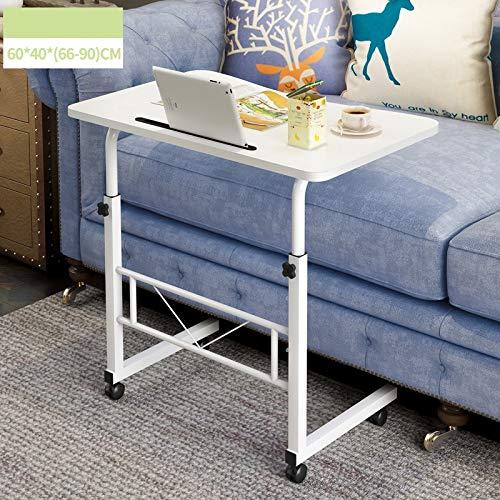 CICIN Verstellbarer Schreibtisch Laptop Beweglicher Nachttisch, Lapdesk mit 4 Rädern Flexibler Holzständer Schreibtischwagen Tablett Beistelltisch,1