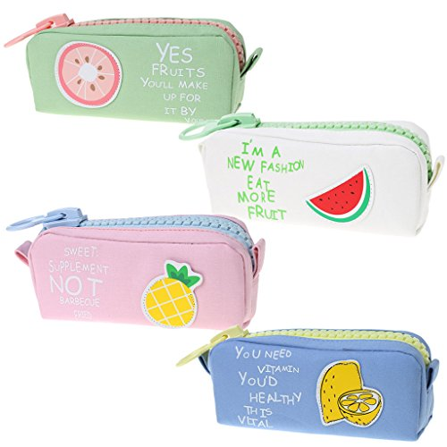 Lagand Pencil Pouch Fruits Pencil Bag Big Zipper Canvas School Pencil Case Stationery Supplies for Middle High School Office College Girl Gift (School Girl Adult)