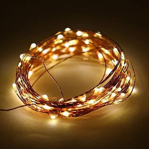 LEDs, wasserdichte Kupferdraht Sternen String Lichter von Batterie betrieben für Indoor Schlafzimmer & Terrasse Garten Garten Hochzeit (33ft / 10M, warmweiß) ()