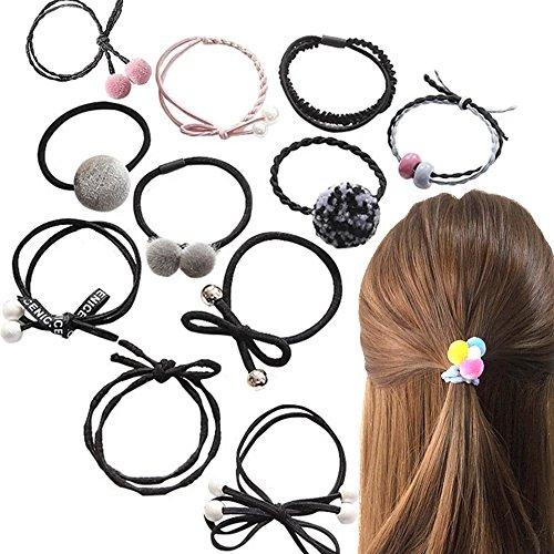 12/Set Mädchen Haar Seil Haarband Frauen Perle Schleife Ball hohe elastische Gummi Bands Hairball Haar Ring Haar Zubehör