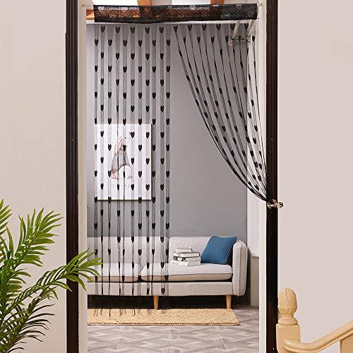 ToDIDAF Transparente Gardinen Vorhang, Liebe Herz Fadenvorhang Fenster Tür Teiler Gardine Volant 1 Stoffbahn, für Zuhause Wohnzimmer Schlafzimmer Dekoration 100 x 200 cm (Schwarz) (Weiße Und Schwarze Blumen-vorhänge)