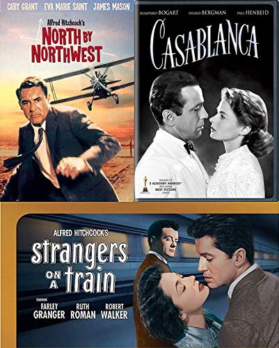 Play it again Movie Legend Cary Grant North By Northwest Alfred Hitchcock TCM / Strangers on A Train Film + Casablanca Bogart DVD Classic Triple Feature Thriller Collection