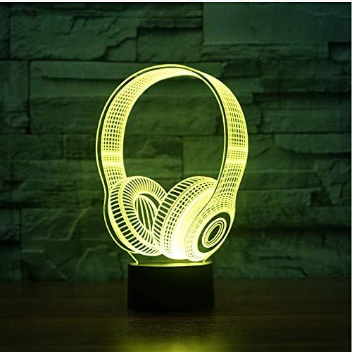 Illusion Weihnachten Kindergeburtstag Beste Geschenke 3D DJ Kopfhörer Form Nachtlicht LED Tischlampe Schlafzimmer Dekor Musik Bunte Kopfhörer Schlaf Beleuchtung