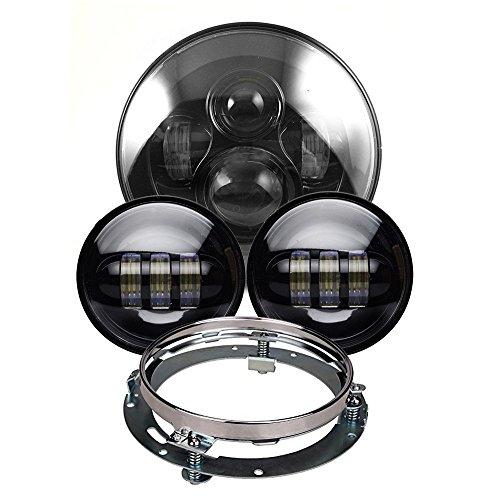 """Fanale anteriore a LED di tipo """"Daymaker"""" da 17,8cm con luci fendinebbia da 11,4cm, con anello adattatore di montaggio, per moto Harley Davidson"""