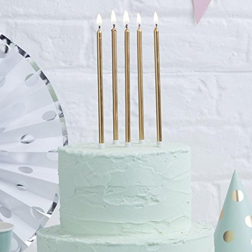 Ginger Ray 24 Kerzen gold extra lang Geburtstag Geburtstagskuchen
