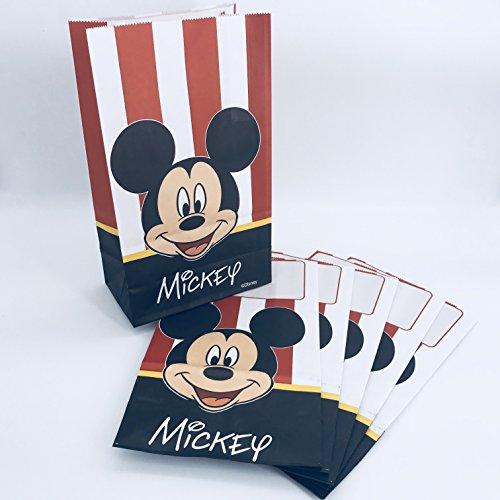 Neu in 2018: 6 Papiertüten * Mickey Mouse * für Mitgebsel bei Kindergeburtstag oder Motto-Party | mit Stehfalz und Namensschild | Partytüten Tüten Geschenktüten Kinder Geburtstag (Mickey Maus Motto-partys)