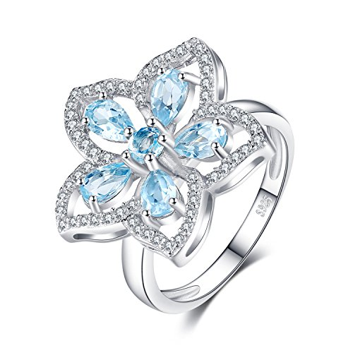 1.2ct Echte Himmelblau Topas Cocktail Ring 925 Sterling Silber ()