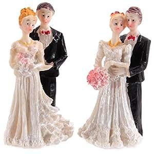 Lot de 2 figurines de mariage pour table et gâteau de mariage