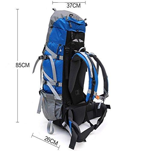 70L wasserdichte Outdoor-Sport Wandern Trekking Camping Rucksack Pack Bergsteigen Klettern Tasche für Männer / Frauen Blue