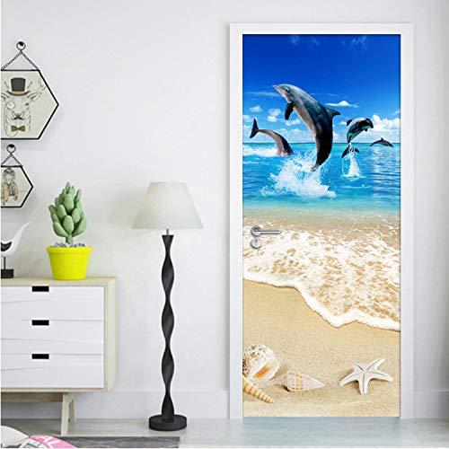 yuyu-beautiful Photo Wallpaper Sandy Beach Shell Starfish Dolphin Poster Wall Mural DIY 3D Self-Adhesive Door Sticker Living Room Children Room