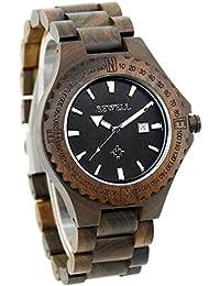 Bewell–Reloj madera de hombre ZS reloj analógico cuarzo correa de madera reloj de pulsera con fecha Display