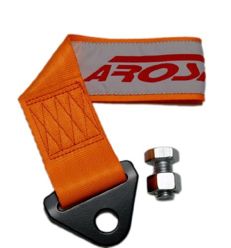 AROSPEED ORANGE TOW STRAP Kit High Tensile Strength Heavy Duty Steel and Polyester 10,000 LB Pound Rating Front Rear Universal JDM for Honda Acura Civic Fit Prelude Integra RSX Accord S2000 Si TSX CL TL GSR LS EK9 EK EG EF EJ1 EM1 EF9 FG2 DC2 SOHC DOHC B16 D16 B18 B20 H22 F22 LS VTEC K20 K24 EX DX LX Si SiR Si-R