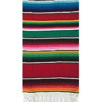 Sarape o serape mexicano multiuso (camino de mesa, Pequeña manta, mantón, bufanda