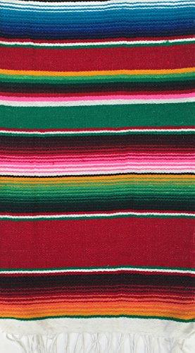 Mehrzweck-mexikanischen SARAPE SARAPE (Tischläufer, kleine Decke, Schal, Schal) Multi Farben 140x 60cm Yoga, Meditation, Festivals, Picknick rot