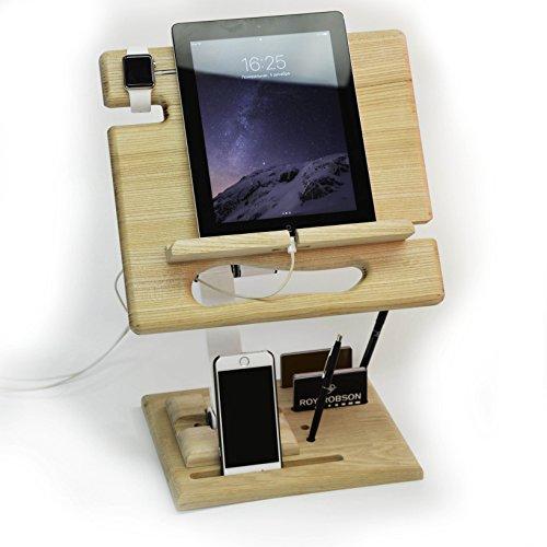 MIRA Stand Tablet Pad Phone Docking Station Adjustable, Pedestal Kit, Oak / white, - Apple Solutions - Designed for iPad Pro 12.9