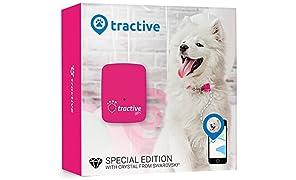 Rastreador Tractive GPS para perros y gatos - resistente al agua se ajusta al collar, color rosa