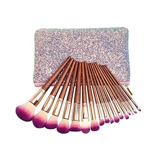 DDFHK Make-up Pinsel 17 hochwertiges Mahagoni Make-up Set Pinsel Pailletten Silberfarbtasche -