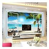 YUANLINGWEI 3D Stereo Ocean View Fenster Tv Hintergrund Wandmalerei Wohnzimmer Wallpaper Home Decor,100cm (H) X 200cm (W)