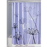 iDesign Thistle Duschvorhang | 183,0 cm x 183,0 cm großer Badewannenvorhang | waschbarer Duschvorhang aus weichem Stoff | mit Blumen-Motiv | Polyester lila/grau
