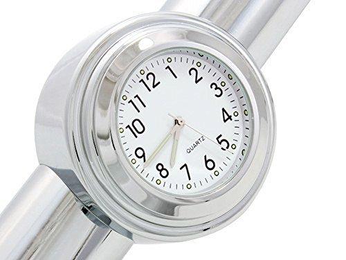 ICTRONIX Universal Motorraduhr Motorrad Lenker Uhr wasserdicht weiss Aluminium 7/8
