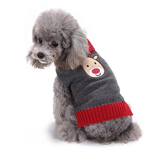 ANIAC Pet Hund Cute Weihnachten Cartoon Rentier Kostüm Winter Pullover Kleidung, XXS, Braun (Weihnachten Pullover Paar)