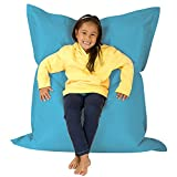Hi-BagZ® KIDS Extra Large Beanbag 4-Way Lounger – 120cm x 100cm, AQUA BLUE - Giant Childrens Bean Bag for Indoor Outdoor – 100% Water Resistant, Weather Proof – Garden Bean Bags Floor Cushion